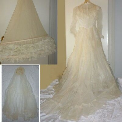 Small Vintage Wedding Dress Antique White, Hoop Skirt / Slip, Veil Lace, Train