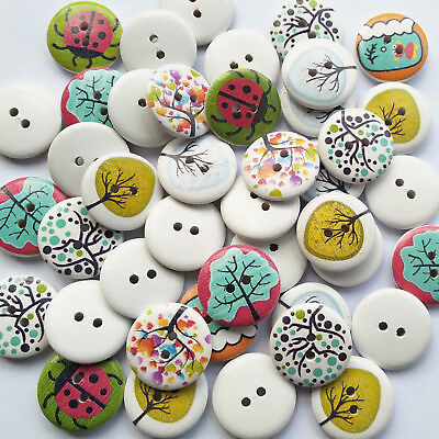 Mix Lots Tree Ladybug Wood Button Clothes Sewing Diy Craft Embelishment Supply