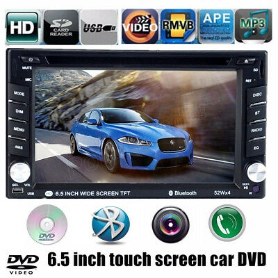 6.5' Car Stereo Bluetooth FM/AM Radio DVD CD Player USB/SD/EQ Touch Screen 2 DIN
