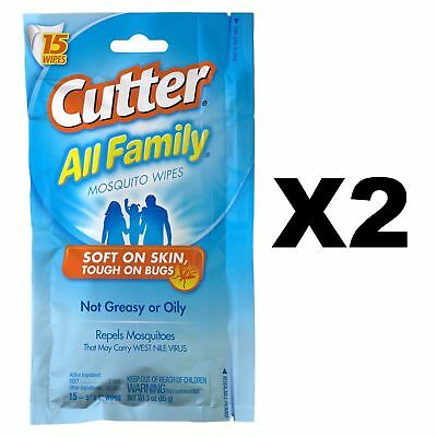 Cutter All Family Mosquito Wipes Insect Bug Repellent 7% DEET (2-Pack of 15)