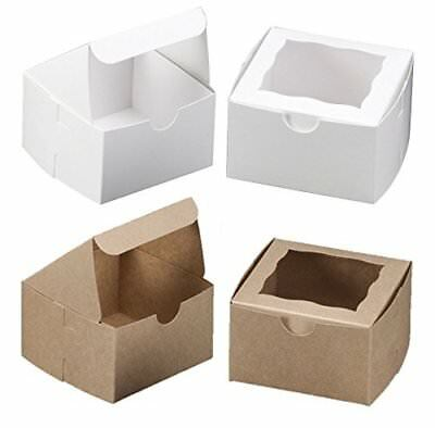 White Bakery Box With Window 4x4x2.5 inch - 25 Pack - Eco-Friendly Paperboard -