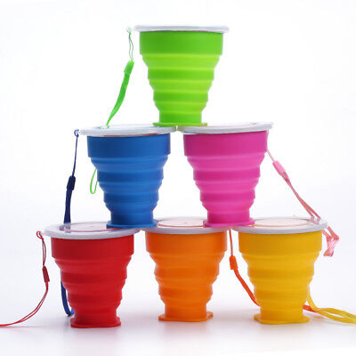 Outdoor Portable Silicone Water Cup Retractable Folding Travel Drinking Cup