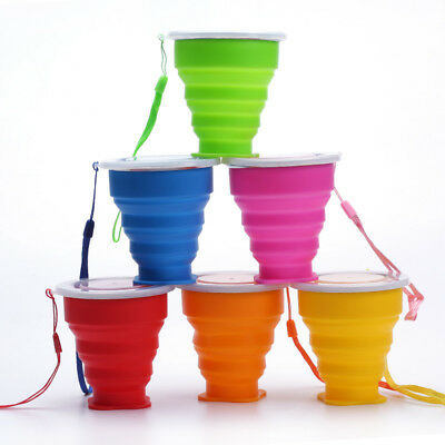 Outdoor Silicone Retractable Folding Water Cup Travel Camping  Collapsible Cups