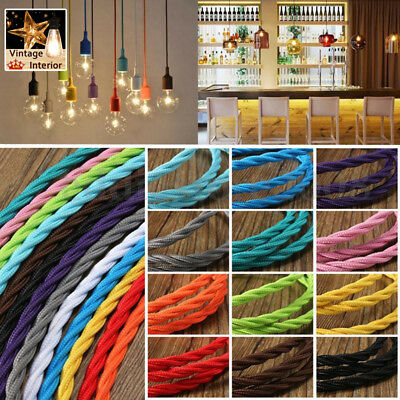 2/3 Core Twisted Vintage Style Braided Fabric Cables Lamp Flexible Lighting Cord