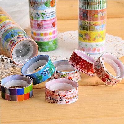 10pcs/set Colorful Washi Tape DIY Sticker Scrapbooking Adhesive Sticker Decals