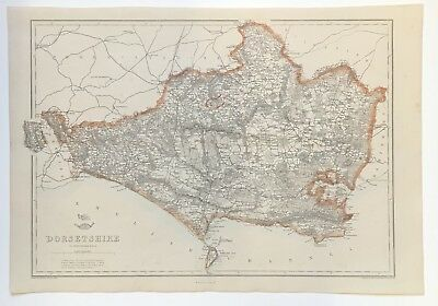 Dorsetshire Antique Map published by Cassell 1863 Original-hand colouring Dorset