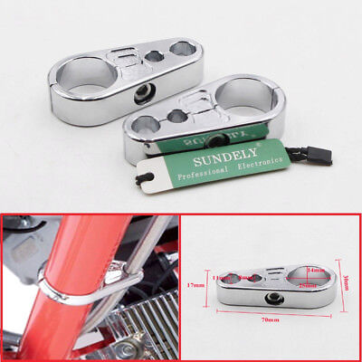 """Chrome Motorcycle Brake Clutch Cable Wire Clamp Clip For 1"""" 25mm Handbar Harley"""