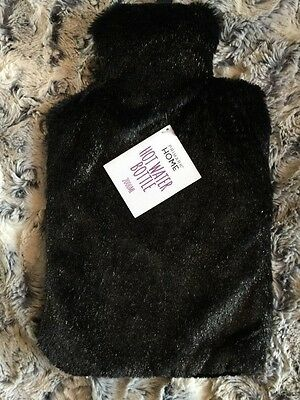 Black Sparkle Fleece Hot Water Bottle New Xmas Gift