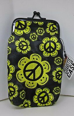 Ninc Yellow Peace Signs Vinyl 100s Cigarette Pack Case W/ Hidden Inside Pocket