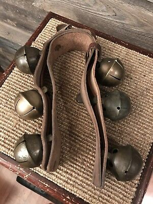 Set 6 Antique Brass/Bronze Swedish/Swiss Sleigh Bells Rump Strap