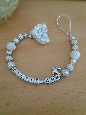 Dummy clip for baby. Pearl beads, shamballa and diamond spacer beads. Any name.