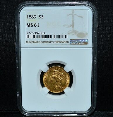 1889 $3 Gold Piece ✪ Ngc Ms-61 ✪ Choice Uncirculated Unc Bu L@@k Now ◢Trusted◣