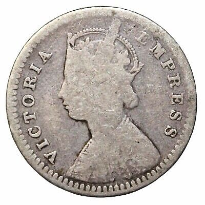 British India Queen Victoria 1888-C Silver 2 Annas KM#488