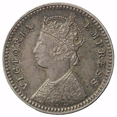 British India Queen Victoria 1893-C Silver 2 Annas KM#488
