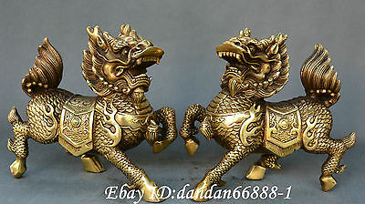 Collect China FengShui old Bronze bring in wealth and treasure kylin statue Pair