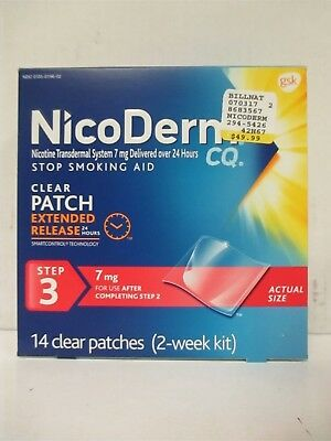 NICODERM CQ CLEAR PATCH STEP 3 - 7mg - 14 PATCHES - EXP: 4/18+  RC 6215