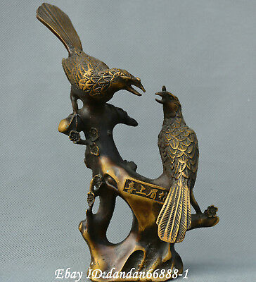 Collect Chinese old Bronze Carving Flower Magpie Bird Plum Blossom Tree Statue