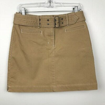 69d5ca865 Sitwell Anthropologie Skirt 6 Juniors Tan Mini Straight Belt Stretch Notched