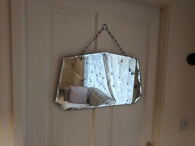 vintage retro art deco cut glass wall mirror hanging chain
