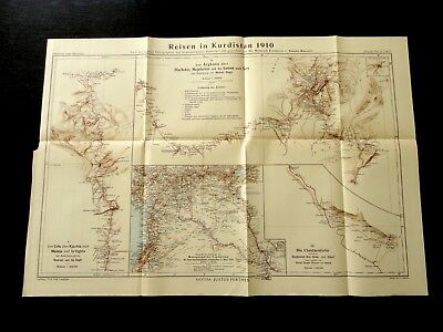 Reisen in Kurdistan 1910 Mesopotamien-Expedition Diarbekir Mejafarkin Sassun Map