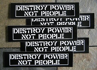 """Lot of 5 8.5x2"""" Crass Anarchy Stickers Anti government Subhumans Leftover Crack"""