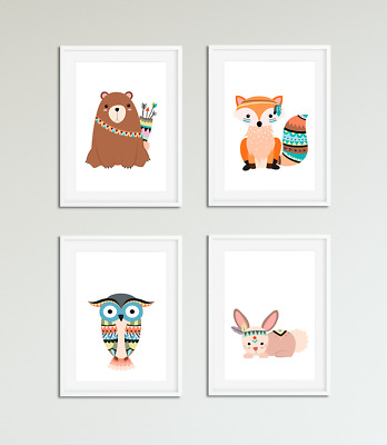Tribal Forest Animal Nursery Prints / Pictures, Kids Bedroom Wall Art, Playroom