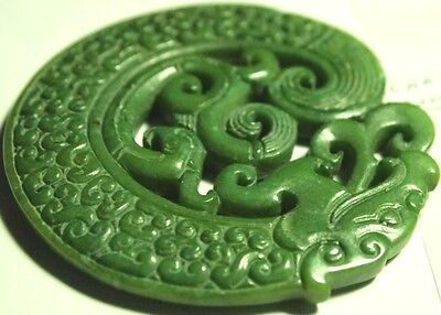 Jadeite Double-Dragon Pendant-carving yunan-china,CAR-A20, 69x69x7mm,1.60oz