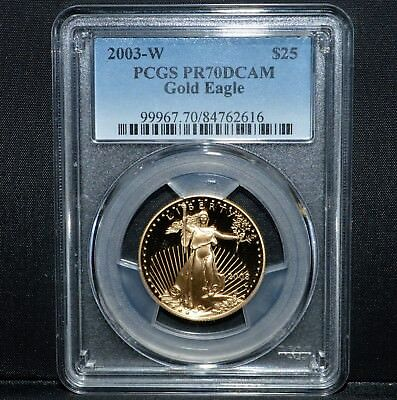 2003-W $25 Proof Gold American Eagle ✪ Pcgs Pr-70-Dcam ✪ 1/2 Oz Half ◢Trusted◣