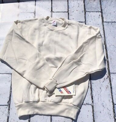 NEW Vintage Jerzees 50/50 Blank Crewneck Sweatshirt SMALL Cream Made in USA