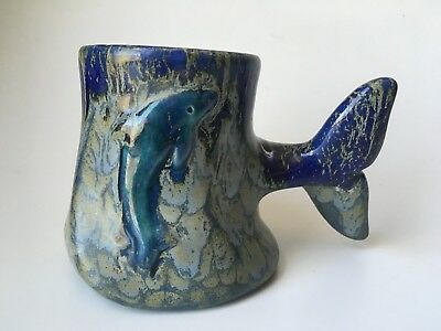 Whale Dolphin Mug Cup Figural Handle Stoneware TAIL Ocean Dimples Art Pottery