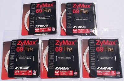 5 Pack Set of Ashaway ZyMax 69 Fire White Badminton String 10m / 33ft