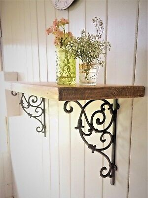 Wooden Shelf With Cast Iron Brackets Vintage Style Shabby Chic Solid Pine Modern