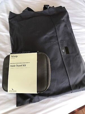 NEW DARK GREY Cathay Pacific First Class Pajamas Size S + Aesop Male Kit