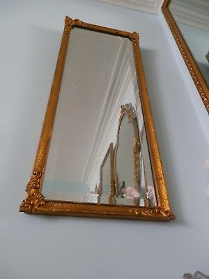Vintage Wall Mirror Rectangular Gesso on Wood Golden Frame