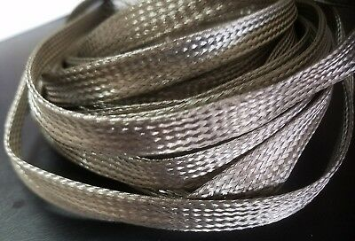 """3/8"""" I.D. Braided Stainless Steel Tubular Sleeve Wire Cover For Harley & Hot Rod"""
