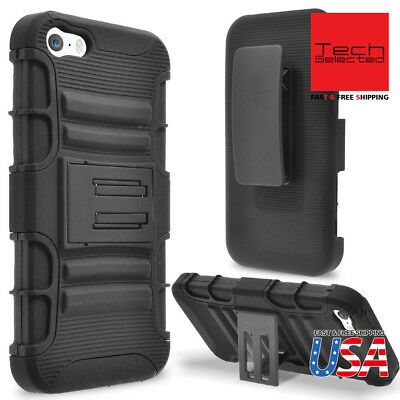 Fits iPhone/Galaxy Full Body Armor Hybrid Rugged Case Cover + Kickstand Holster