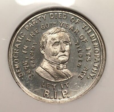 Political SJT 1876-6 WM NGC MS-64 PL - Samuel Tilden - ex Virgil Brand Prooflike