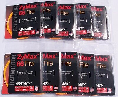 10 Pack Set of Ashaway ZyMax 66 Fire Orange Badminton String 10m / 33ft