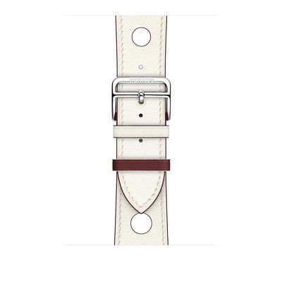 Apple Watch Hermes 42mm White Blanc/Rouge H Single Tour Rallye Leather Band