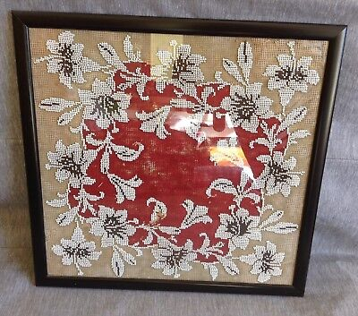 Original Victorian Beadwork Needlework Sampler Picture. Floral White/red. 18""