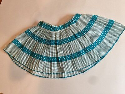 Vintage 1958 Size 3 Toddler's  Pleated Skirt With Aqua Polka Dot Romper