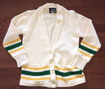 Vtg 50's 60's Whiting Los Angeles Mens Letterman Style Cardigan Sweater Size L