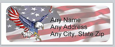 30 Personalized Address Labels US Flag Buy 3 get 1 free (ac 636)