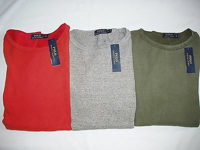 Polo Ralph Lauren Men's Relaxed Crewneck Waffle-Knit Thermal Shirt Top NEW $89