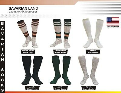 Bavarian Oktoberfest Lederhosen German Men 2 Piece Long Socks Pair Casual Colors