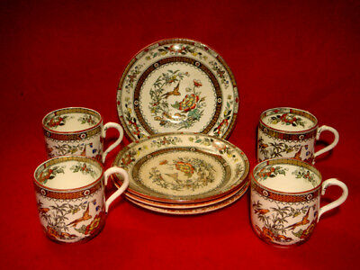 Powell, Bishop & Stonier Xix Century *hong Kong* Set Of 4 Coffee Cups & Saucers