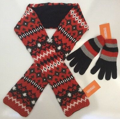 NWT Gymboree Red & Blue Striped/Fairisle Sweater Gloves & Scarf Boys L 7-8-9