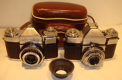 Two Zeiss Ikon Contaflex 35 mm cameras, Carle Zeiss lenses