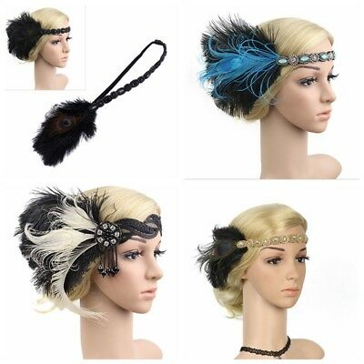 Bridal Flapper Peacock Headband Headpiece 1920s Great Gatsby Gangster Headdress