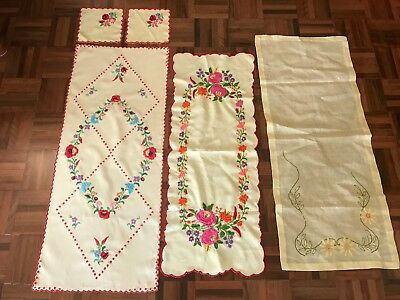 Lot 5 vintage floral embroidered table runners center cloth doilies colourful